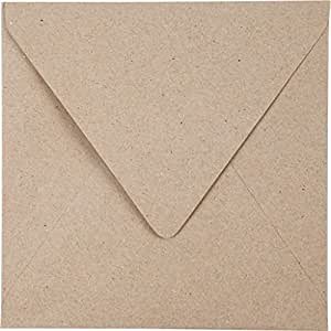 Sobres de papel reciclado, medidas 15x15 cm, 120 gr, natural, 25ud