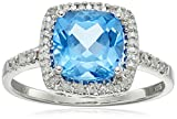 Sterling Silver Swiss Blue Topaz and Diamond Cushion Halo Ring (0.14 cttw, I-J Color, I2-I3 Clarity), Size 7