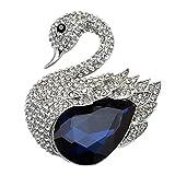 TTjewelry 2.51'' Charming Swan Bird Blue Rhinestone Crystal Brooch Pin Silver-Tone
