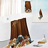 Auraise Home toddler bath towel set Summer Card with Sea Shells,Anchor,Lifeline on Wood Background Ultra Softness & Absorbency 19.7''x19.7''-13.8''x27.6''-31.5''x63''