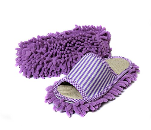 - Friendly House Women's Microfiber Floor Cleaning Mop Slippers with Stripes (Suitable for US Women Size 5-7, Purple)