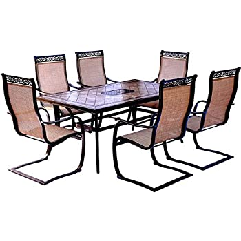 Delightful Hanover Monaco 7 Piece Dining Set With Six C Spring Chairs And A Tile