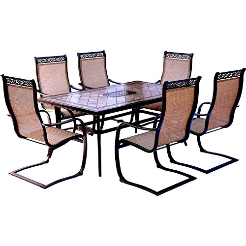 Hanover Monaco 7 Piece Dining Set with Six C-Spring Chairs and a Tile-top Dining Table (Tile Top Dining Set)