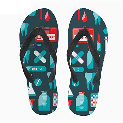 Coloranimal Printed Dentist Lightweight Cute Comfortable 3 Womens Nurse Flops Printed Summer Flip Sandals P4rqPx