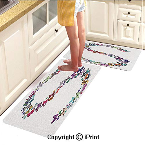 Rubber Anti-Skid Carpet 2piece Suit,Capital Letter S Consisting of Various Colored Shaped Butterflies Exotic Animals Decorative,Comfortable Soft Floor mat,16