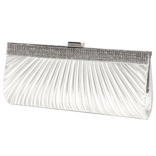 White Bridal Satin Evening Purse Handbag Clutch Diamante Party Bag 4 Prom Colors YCCTPBwq