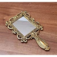 Crafticia Metal Engraved Handheld Mirror Decorative Vintage Compact Vanity Mirrors (18X10 cm, Golden)
