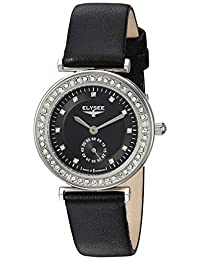 ELYSEE Women's 'Ladies-Edition' Quartz Stainless Steel and Leather Casual Watch, Color:Black (Model: 44006.0)