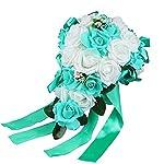 Acamifashion-Crystal-Roses-Pearl-Bridesmaid-Wedding-Bouquet-Bridal-Artificial-Silk-Flowers-White-Teal-blue