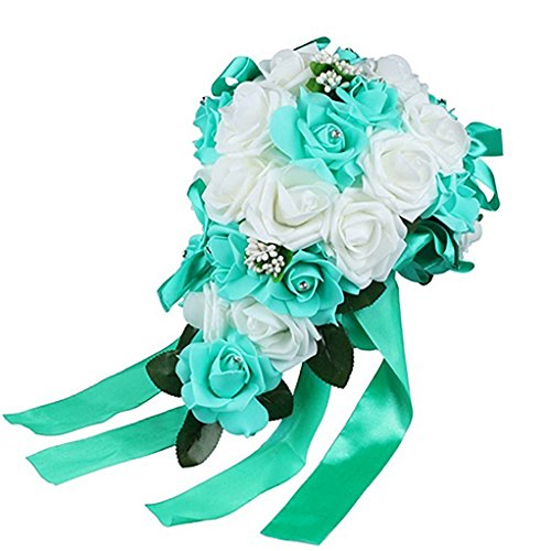 Wildflower Bouquet Wedding (Acamifashion Crystal Roses Pearl Bridesmaid Wedding Bouquet Bridal Artificial Silk Flowers (White & Teal blue))