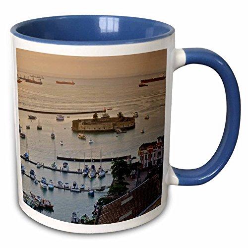 3dRose KIKE CALVO Brazil Collection - Mercado Modelo and a view of Salvador de Bahia Harbor. - 15oz Two-Tone Blue Mug (mug_216134_11)