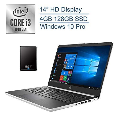"""2020 HP 14"""" Business Laptop Computer/ 10th Gen Intel Core i3 1005G1 Up to 3.4GHz (Beat i5-7200u)/ 4GB DDR4 RAM/ 128GB SSD/ 802.11ac WiFi/ Type-C/ Windows 10 Pro + EST 320GB External Hard Drive Bundle"""