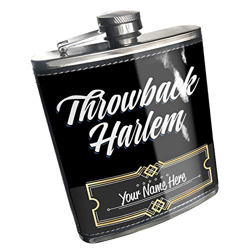 (Neonblond Flask Classic design Throwback Harlem Custom Name Stainless Steel)