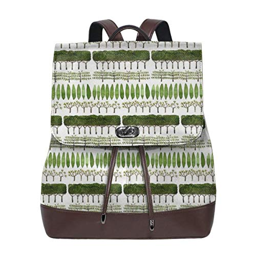 Allée Of Trees - Topiary Collection-Women Lady's Girl's Casual PU Leather Backpack School Travel Backpack.