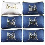 6 Piece Set   Navy Blue Bride Tribe Canvas Cosmetic Makeup Clutch Gifts Bag for Bridesmaid Proposal Box & Bridesmaids Bachelorette Party Favors