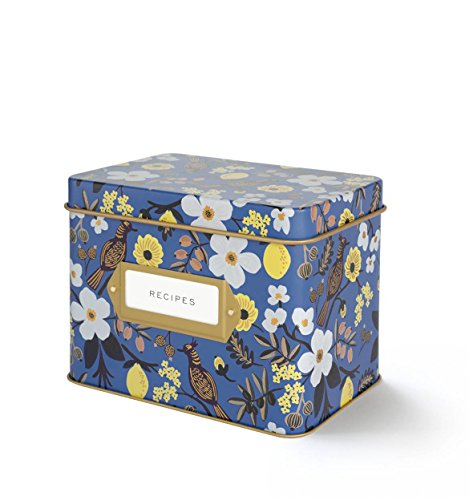 Rifle Paper Co. Capri Blue Recipe File Box With 12 Dividers and 24 Recipe Cards (Recipe File)