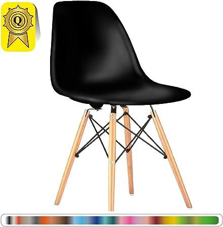 Decopresto 1 X Chaise Design Scandinave Noir Pieds Bois Naturel Dp Dswl No 1