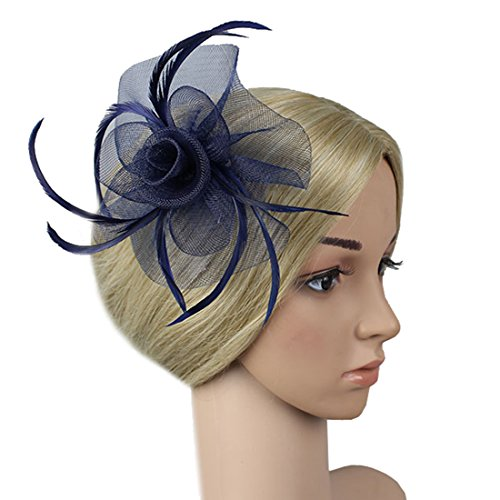 Free Yoka Womens Fascinators Feather Pillbox Hat Cute Beads for Cocktail Kentucky Derby Ball Wedding Church Party (Navy) by Free Yoka (Image #5)