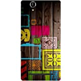 Casotec Stamps on Wooden Design Hard Back Case Cover for Sony Xperia T2 Ultra