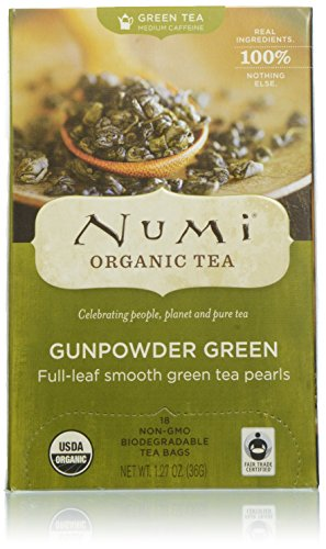 - Numi Organic Tea Gunpowder Green, 18 Count Box of Tea Bags