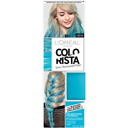 olor Colorista Semi-Permanent for Light Blonde or Bleached Hair, Turquoise ()
