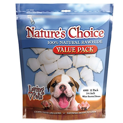 Loving Pets Nature'S Choice 100-Percent Natural Rawhide White Knotted Bones Value Pack Dog Treat, 3-4-Inches, 12/Pack ()