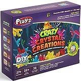 Playz Growing Crystal Creations 27+ Geology & Earth Science Experiments Kit - Make Crystalline Eggs & Starfish, Magical Gardens, Rainbow Flowers, Custom Geodes, & Secret Messages
