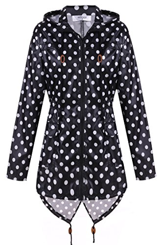 Black Cloth Jacket Coat - Meaneor Women's Waterproof Raincoat Outdoor Hooded Rain Jacket Black and White Polka Dot L
