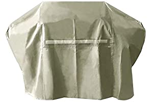 iCOVER Grill Cover- 65 Inch 600D Heavy-Duty Water Proof Patio Outdoor Khaki Canvas BBQ Barbecue Smoker/Grill Cover G22605 for Weber Char-Broil Brinkmann Holland and JennAir