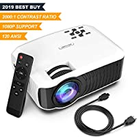 """Movie Projector, DBPOWER 2019 est 120 ANSI LCD Video Projector Free HDMI 176"""" Display 50,000 Hours LED Portable Projector Support 1080P, Compatible AV, USB, SD, Amazon Fire TV Stick from DBPOWER"""