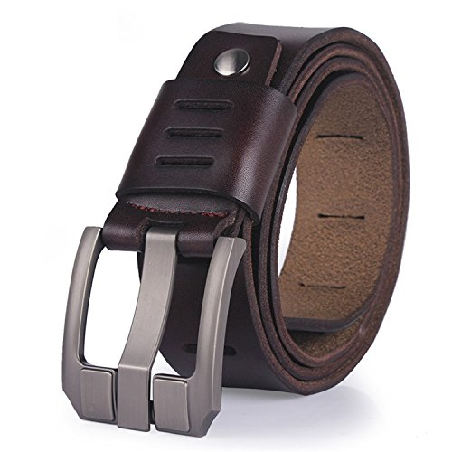 belts for men male pin buckle jeans cowboy Mens Belt Luxury Designer Leather belt men COFFEE 130cm (Belted Cowhide Belt)
