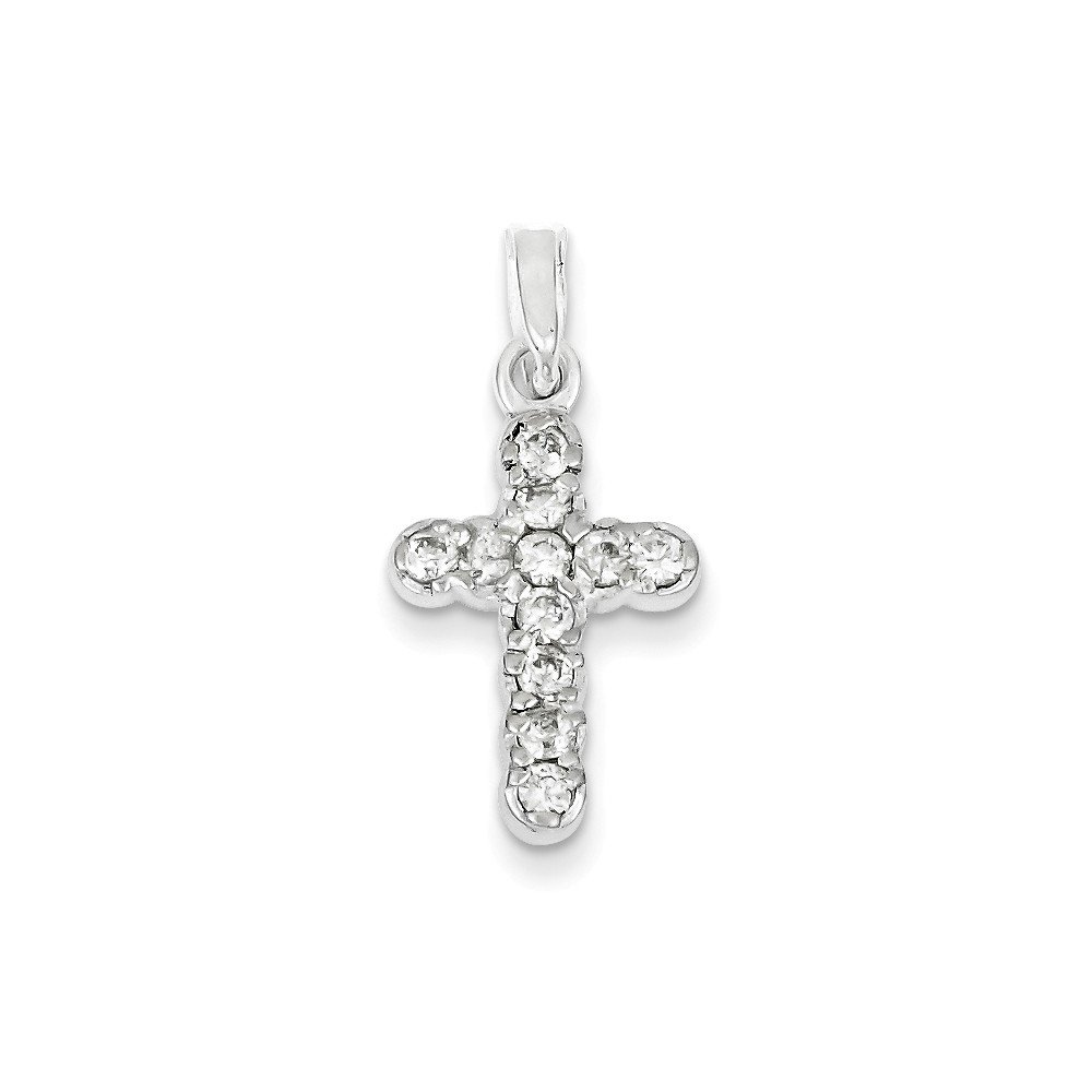 Solid 925 Sterling Silver Cubic Zirconia CZ Cross Pendant 25mm x 13mm