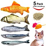Youngever 7 Cat Toys Assortment with 5 Refillable Catnip Fish Cat Toys and 2 Free Squeaky Mouse Cat toys - Free Extra Catnip for Refill - for Cat - Puppy - Kitty - Kitten - Ferret - Rabbit