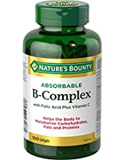 Nature's Bounty B Complex w/Folic Acid plus Vitamin C, Helps Metabolize Carbohydrates, 100 Softgels