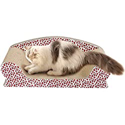 Vivaglory Cat Sofa Bed for Scratching, Kitty Cardboard Scratcher Couch, Kitten Scratch Lounge for Rest and Furniture Protect with Catnip, Leopard Print