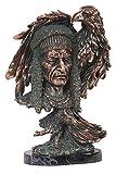 14'' Copper Native American Head Sculpture