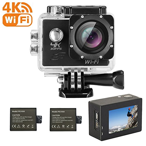 """4K WIFI Sports Action Camera, Waterproof 170° Ultra Wide-Angle 2.0""""Display 16 MP Camcorder with 2 Pcs Rechargeable Batteries 1050 mah, 25 Accessories Kits by Ejotc"""