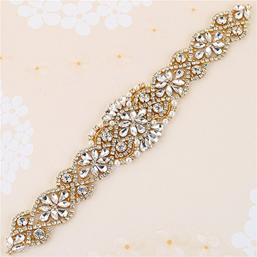 Applique Belt - Bridal Wedding Dress Sash Belt Applique with Crystals Rhinestones Pearls Beaded Dacorations Handcrafted Sparkle Elegant Thin Sewn or Hot Fix for Women Gown Evening Prom Clothes (Gold-2)