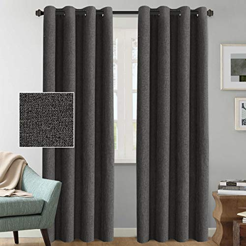 H.VERSAILTEX Rich Linen Blackout Curtains 108 Inches Long Room Darkening Textured Linen Extra Long Curtains/Draperies/Drapes for Living Room - Charcoal Gray Primitive Linen Curtain (2 - Windows Charcoal