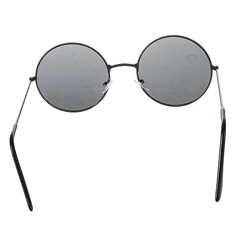 SODIAL(R) Moda Gafas de sol redondo kente negro marco de metal para mujer honbre Gafas Anteojo