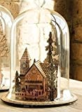 """Roman 9"""" Brown Battery Operated LED Lighted Cut Out Christmas Train and Village Cloche"""