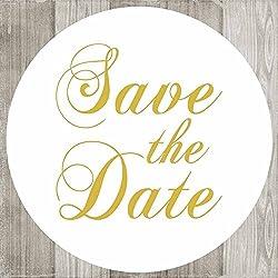 Save the Date Sticker Labels - Gold Wedding Engagement Card Invitation Envelope Seals - Set of 50