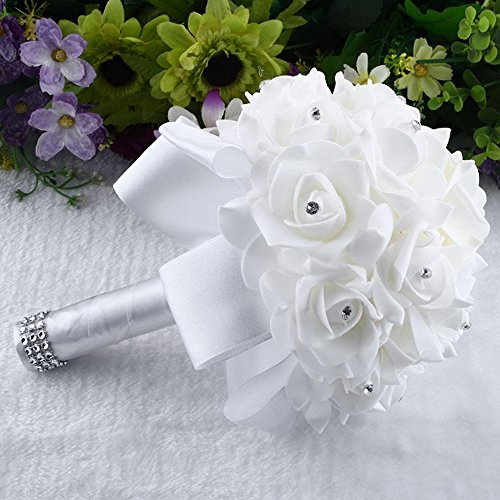 Gotian 1 Bouquet Artificial Flowers Foam Crystal Roses Pearl Bridesmaid Wedding Bouquet Bridal Artificial Silk Flowers (White) from Gotian