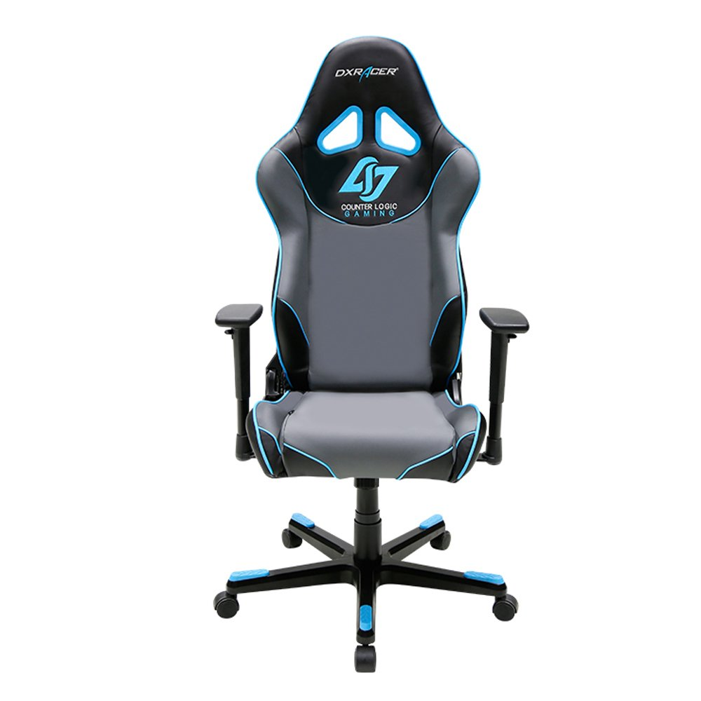 DXRacer Racing Series DOH/RE129/NGB/CLG Counter Logic Gaming Racing Bucket Seat Office Chair Gaming Chair Ergonomic Computer Chair Desk Chair Executive Chair With Pillows (Blue)