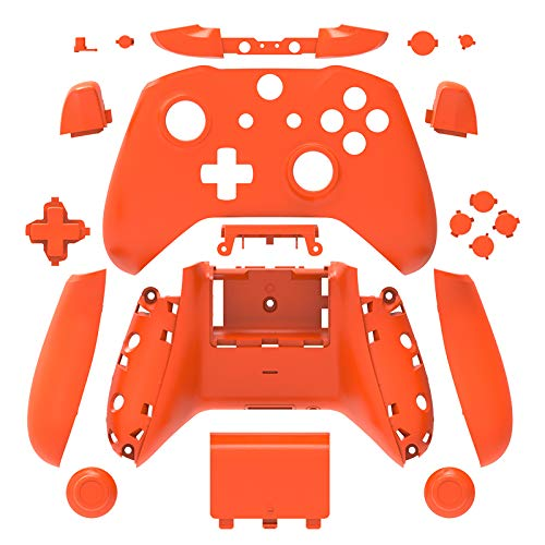 WPS Matte Case Housing Full Shell Set Faceplates + ABXY Buttons + RB LB Bumpers + Right/Left Rails for Xbox One S Slim (3.5 mm Headphone Jack) Controllers (Orange) (Xbox One Controller Full Shell)