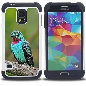 For Samsung Galaxy S5 I9600 G9009 G9008V - mint green bird tropical purple feather Dual Layer caso de Shell HUELGA Impacto pata de cabra con im????genes gr????ficas Steam - Funny Shop -