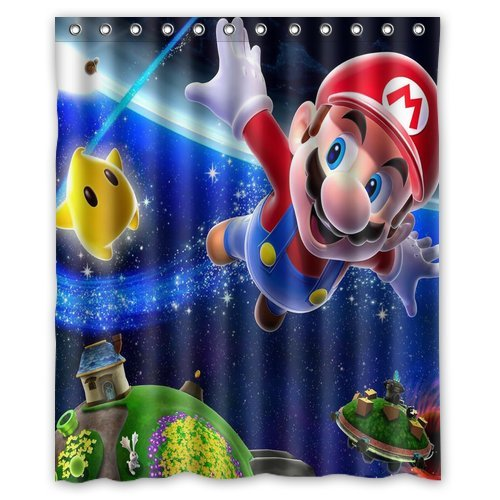 ScottShop Custom Best Super Mario Galaxy 2 Shower Curtain Decoration Waterproof Polyester Fabric Bathroom Shower Curtains 60