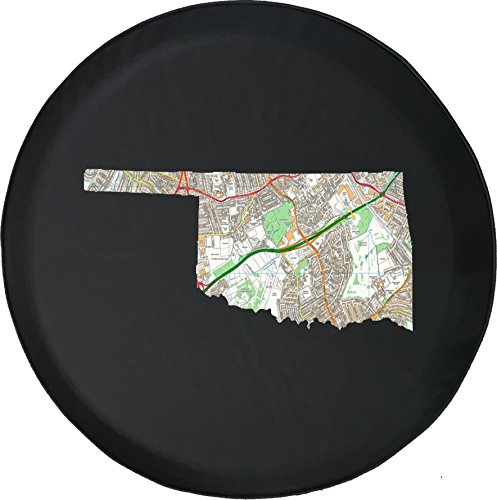 556 Gear Oklahoma - Streets Travel Map Jeep RV Spare Tire Cover Black 30 in