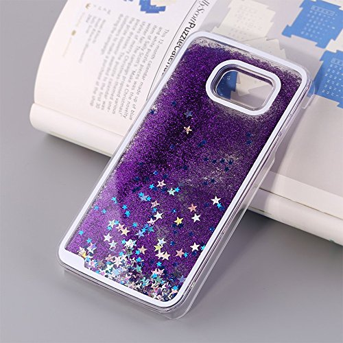 Galaxy S6 Edge Plus Case, Crazy Panda® Samsung Galaxy S6 Edge Plus 3D Creative Design Flowing Liquid Floating Bling Glitter Sparkle Star Crystal Clear Case Cover for Galaxy S6 Edge Plus - Purple Stars