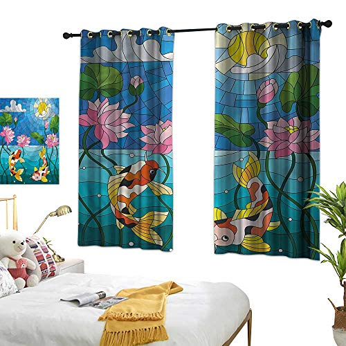 Davishouse Thermal Curtains Stained Glass Lotus Flower Privacy Protection 72